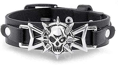 Collares Pulsera Collar Moda Pulsera Halloween Hombre Pulsera Esqueleto Cráneo Ojo Estrella Punk Gothic Rock Cinturón de cuero Pulseras con hebilla Para mujer Hombre Pulseras y brazaletes Homb