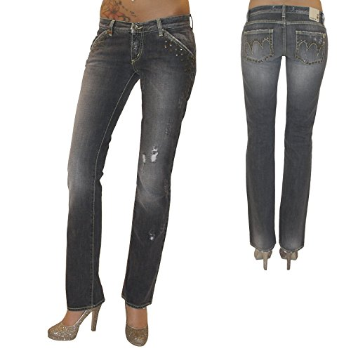 MET Diseño Mujer Destroyed Jeans–Pantalones Vaqueros Pantalones Pierna Recta Gris Used Remaches Gris W25 (Ropa)