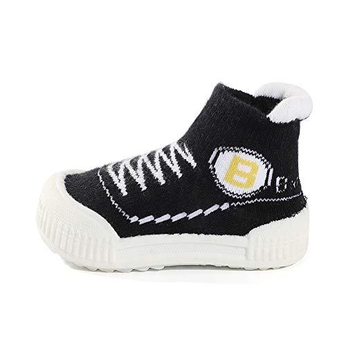 MK Matt Keely Zachte Rubber Zool Baby Sok Schoenen Peuter Anti-Slip Slipper Sokken Eerste Wandelschoenen voor Baby Jongen Meisje Prewalker 3.5 UK Child Zwart