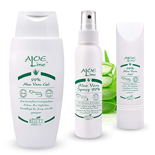 Aloe Vera Basis Pflegeset - Bio Aloe Vera GEL 99% (1 x 150ml + 1 x 50ml) & Bio Aloe Vera SPRAY 99% (1 x 100ml) - für Haut & Haar - spendet Feuchtigkeit - ohne Duft- & Farbstoffe | VEGAN