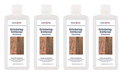 Hansepro Grünbelag-Entferner, 4 x 1000 ml I Konzentrat I universell einsetzbar I Algenentferner I Steinplattenreiniger I für Haus, Garten und Markise