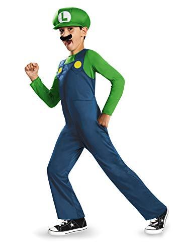 Super Mario Bros DISK73692L Kostüm, Jungen, Luigi, Klein