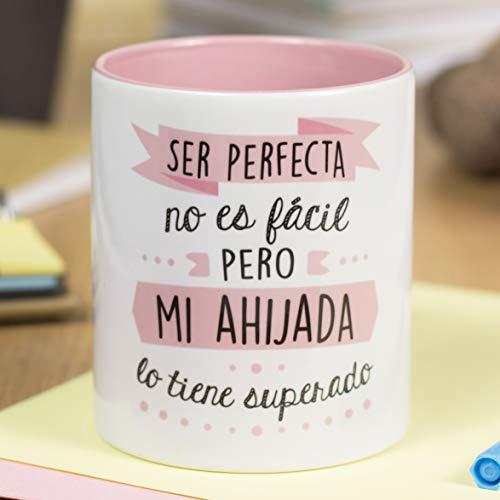 La Mente es Maravillosa - Taza con Frase y dibujo divertido (Ser perfecta no es fácil pero mi ahijada lo tiene superado) Taza Regalo Ahijada