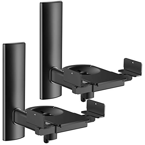FDM Universal Speaker Wall Mount One Pair of Side Clamping Bookshelf Speaker Mount Bracket with Swivel and Tilt for Sound Speakers (Black)