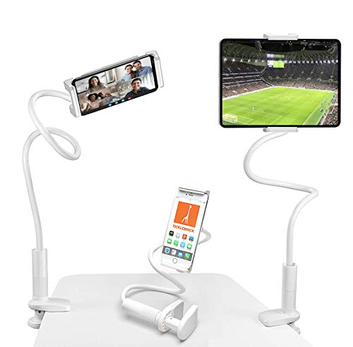 TickleBrick Universal Mobile Phone and Tablet iPad Holder for Bed, Sofa, Table - Long and Flexible Gooseneck - 360-Degree Adjustable Arm for All Devices - Wide Clamp with Mount Grip Pads - White