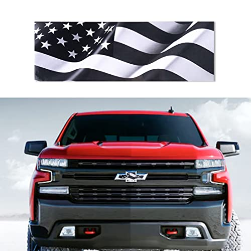Black and White American Flag Decals for Chevy Silverado Grille and Tailgate Bowtie Emblem Stickers 2PCS