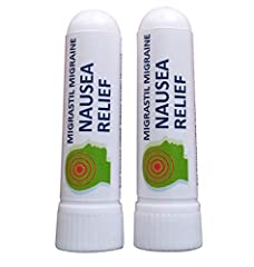 Lightly scented aromatherapy inhaler for gentle nausea relief. 100% Natural Spearmint, Ginger and Lavender Essential Oils. Works great with Migrastil's Migraine Stick. Economical 2-pack lasts for several months. Works fast. Portable. Made in the U.S....