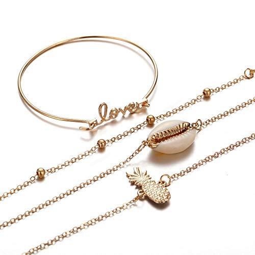4 Stück/Set Gold Ananas Armbänder Armreifen für Frauen Manschette Armband Trending Schmuck Natural Seashell Bracelet