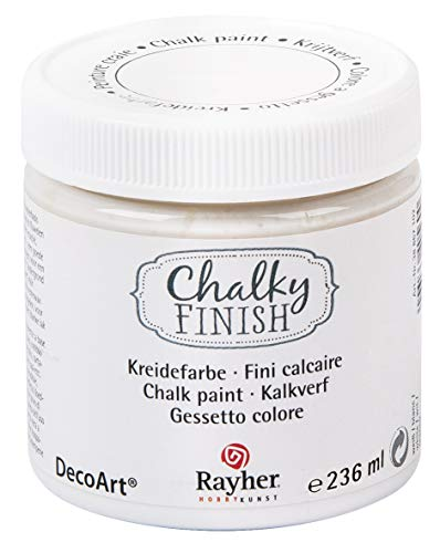 Rayher 38868102 Chalky Finish auf Wasser-Basis Kreide Farbe für Shabby-Chic, weiß, 236 ml