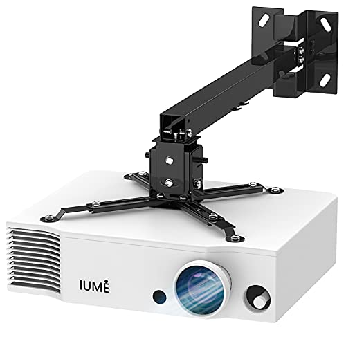 IUMÉ Projector Mount, 44 pounds Load Capacity, Black Extendable Projection Bracket Wall Hanger Universal LCD/DLP Mounting for Epson,Optoma, Benq,ViewSonic Projectors,Video Projector Ceiling Mount