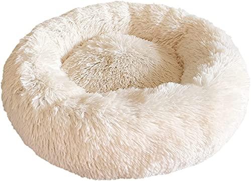 Docatgo Katzenbett,60x60cm Hundekissen,Donut Hundebett Kleine Hunde Bett,Hundekorb Mittelgroße Hunde,Rundes Plüsch Kuschelbett Katzen Hund,Waschbar Flauschiges rutschfest Hundeliege