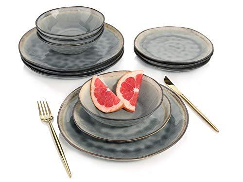 Sänger Dinner Service Capri aus Porzellan 12 teilig in Grau für 4 Personen | Füllmenge der Schalen 700 ml | Tellerset im Vintage-Stil, Geschirrset, Porzellanservice