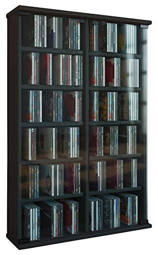 VCM Zuntisa Estante Mural para colección de CDs y DVDs, Madera, Negro, 91,5x60x18 cm