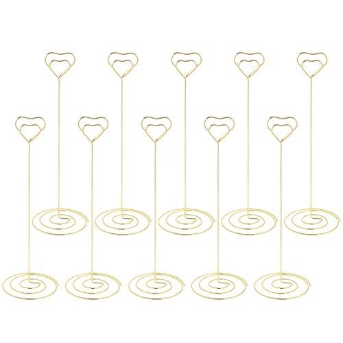 toymytoy tarjetero de boda lugar, amor corazón forma notas porte-photo soporte Metal inalámbrico tarjeta papel Note Clips para boda decoración de mesa de fiesta (oro rosa) 22 x 7 x 7 cm oro rosa