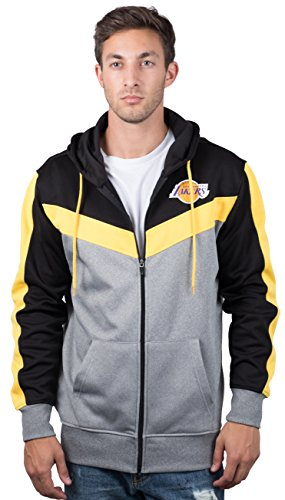 Ultra Game NBA Los Angeles Lakers Mens Soft Fleece Full Zip Jacket Hoodie, Team Color, X-Large