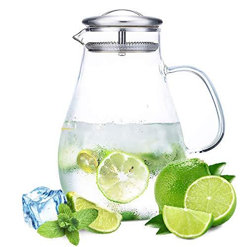 Lawei Wasserkaraffe Glas Krug Karaffe mit Deckel Wasserkrug Glaskanne für Heißes Kaltes Wasser Wein Kaffee Milch Saft Getränke - 1,9 Liter
