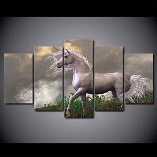 rkmaster-Hd Druck 5 Stücke Leinwand Kunst Abstraktes Weißes Pferd Malerei Wohnzimmer Dekoration Wandbild Cu 2311A