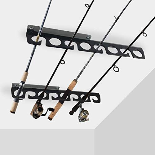 Homydom Fishing Rod Ceiling/Wall Storage Rack, Fishing Pole Holder for Garage & Cabin & Basement, Heavy Duty - Holds up to 8 Fishing Rods