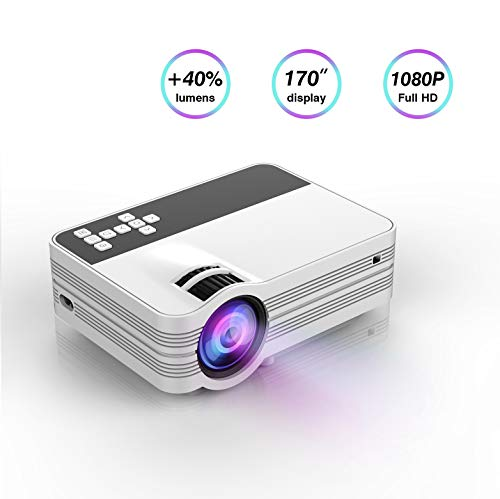 Projector,LED Video Projector, Updated LCD Technology Support 1080P Portable Mini Multimedia Projector Ideal for Home Theater Entertainment Games Parties