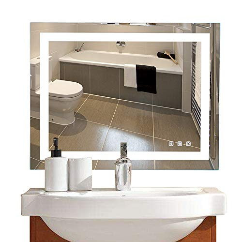 """Bonnlo 36""""×28"""" Dimmable LED Illuminated Bathroom Mirror with Bluetooth Speaker, Anti-Fog Wall Mounted Bathroom Vanity Mirror,Smart Vanity Mirror with Memory Touch Button  Hangs Vertically/Horizontally"""
