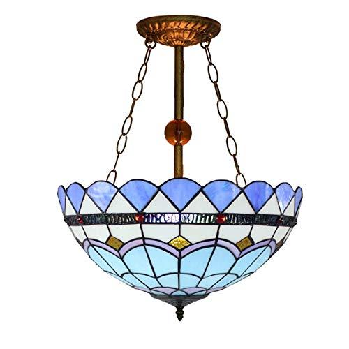 Candelabros de color - Estilo de lámpara de pendiente creativo, accesorio de luz del colgante mediterráneo azul, 16 'Tiffany Style Lámpara de techo Techo Vitrales Colgante Luz de ceño COMEDOR LUZ DE C