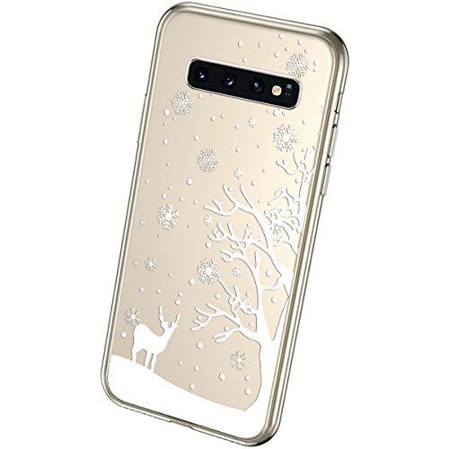 QPOLLY Kompatibel mit Samsung Galaxy S10 Handyhülle Transparent Silikon mit Niedlich Muster Weihnachten Schneeflocke Kristallklar Ultra Dünn Weich TPU Bumper Hülle für Galaxy S10#15