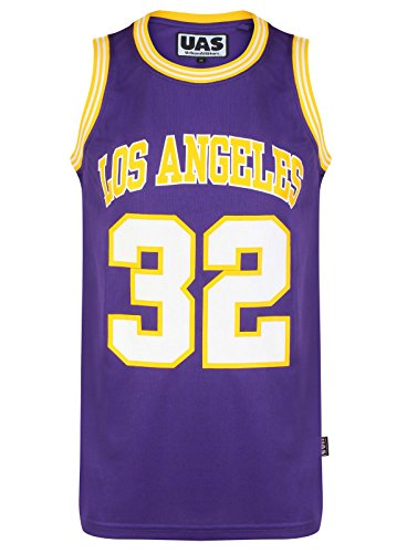 Herren American US Style Basketball Trikots Miami NY Chicago LA Brookly Weste Tops ärmellos T-Shirt Gr. S, Los Angeles Lila 32