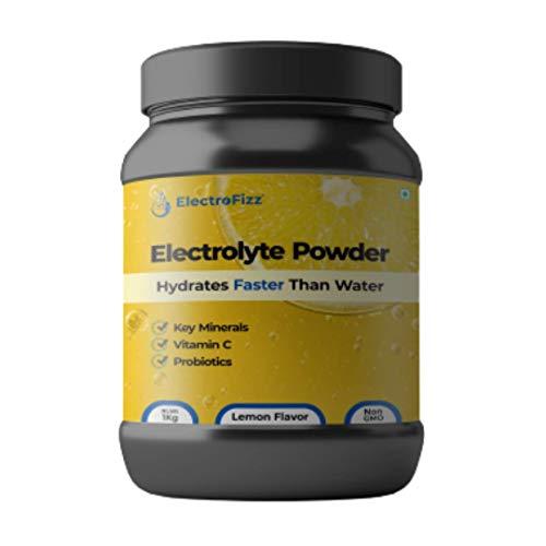 ElectroFizz Instant Hydration Energy Drink Powder for Workout for Men and Women- Electrolytes, Vitamin C, Probiotics - Lemon Flavour 1 Kg Jar Pack