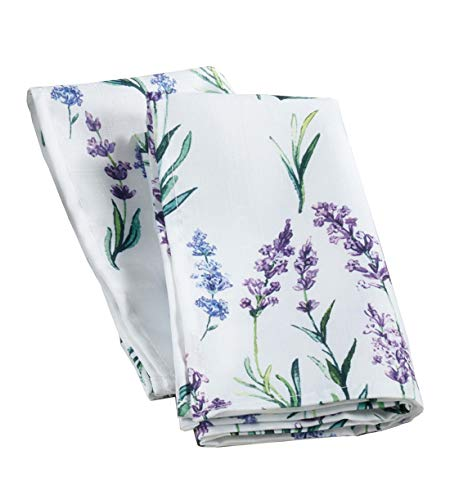 Fennco Styles Garden Lavender Print Cloth Napkins 20 x 20 Inch, Set of 4 - Delicate Floral Dinner Napkins for Home, Dining Room Décor, Banquets, Indoor & Outdoor Event and Special Occasion