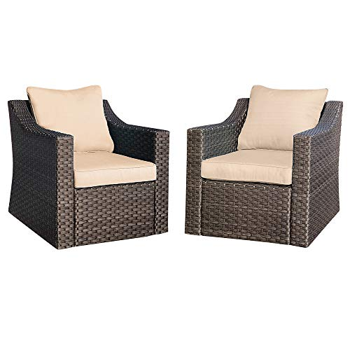 Stamo Outdoor Patio Conversation Furniture Sets 2 Piece Single Chairs, All Weather Coffee PE Rattan Wicker Cushioned Patio Sofa Lounge Chairs with Coffee Cushions