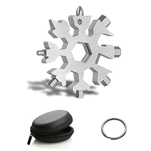 18 in 1 Snowflake Multi Tool Daily Handy Tool for Outdoor Travel Camping Adventure Stainless Steel Bottle Opener KeychainThe Perfect DIY Gift for Men and Women for Christmas Silver