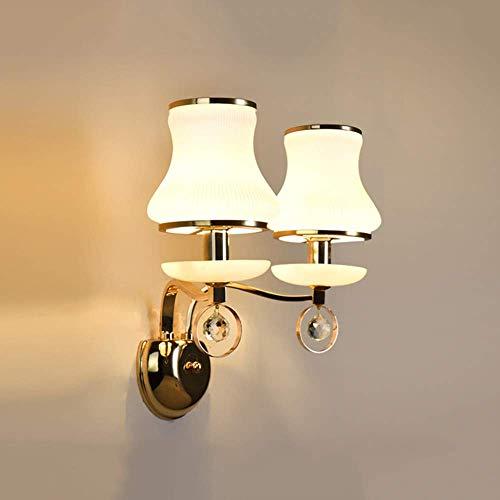 Apliques Pared Pasillo del pasillo del LED Crystal Jade lámpara de pared de comedor dormitorio de estar Sala de Estudio Escalera Balcon oro blanco Hierro vaso caliente de lujo amarillo claro Moderno