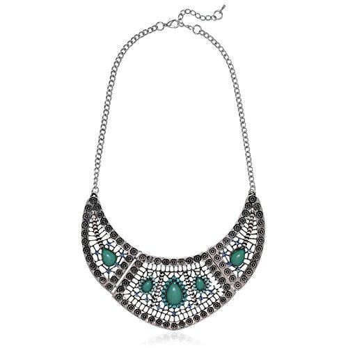 KnSam - Collar Mujeres Estilo étnico de la Vendimia Collar Llamativo Colgante Perlas de Waterdrop Verde Plateado