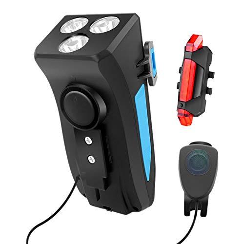 Camisin Juego de Luces para Bicicleta USB Recargable Impermeable 4000MAh Faro Delantero con Soporte para TeléFono y 4 Modos de Luz Trasera