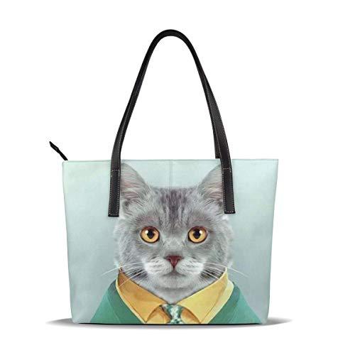 smile-life Katze im grünen Kleid Print Griff Handtaschen Satchel Womens Shouler Taschen Leder Tote Purse Top Messenger Bags für Damen