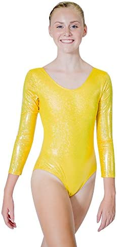 HDW DANCE Ladies Gymnastics Leotard Bodysuit One-Piece Long Sleeves Nylon and Spandex