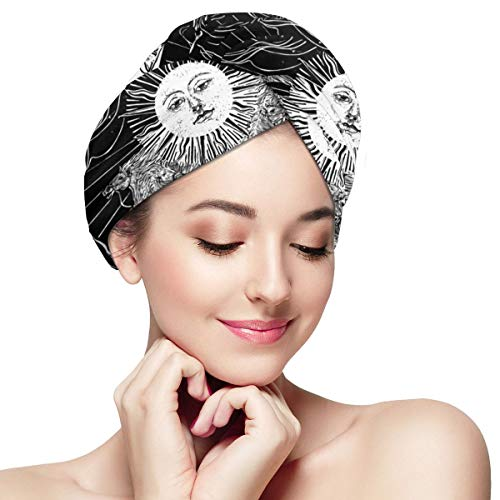 Sun Astrological Black Zodiac Celestial Tarot Hair Towel Wrap Turban Microfiber Quick Dry Drying Bath Shower Head Super Absorbent Towel with Buttons D
