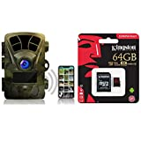Rexing Woodlens H2 - 4K Wi-Fi Trail Camera, 20MP, Night Vision Surveillance Cam for Hunting Games Wildlife Monitoring & Kingston Canvas React 64GB 100MB/s (U3 A1) microSDXC Memory Card with Adapter
