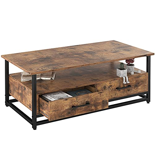 IRONCK Industrial Coffee Table for Living Room, Tea Table with Storage Shelf, Wood Look Accent Furniture with Metal Frame, Rustic Home Decor,Retro Brown