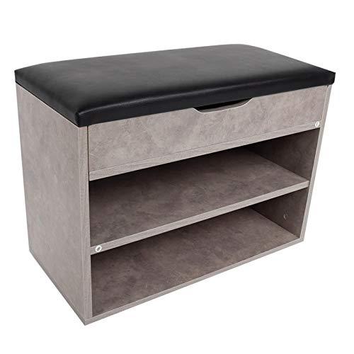 Gabinete de zapatos de MDF + PU con asientos, 2 capas, cofre de zapatos de madera que ahorra espacio, suministros domésticos para dormitorio, sala de estar
