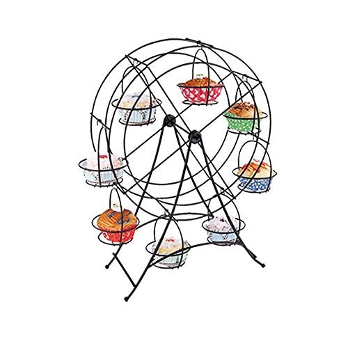 n.g. Wohnzimmerzubehör Tortenständer Hochzeit Einrichtung Weiß Eisen Riesenrad 8 Cupcakes Display Ständer Kuchenhalter Zubehör Dessert Serviertablett Party Food Display