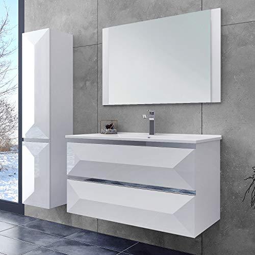OIMEX ELISA 90 cm Designer Badmöbel Set Waschtisch Unterschrank mit Waschbecken mit Spiegel Hochglanz Weiß 2 Schubladen, Seitenschränke auf Wunsch dazu, Größe: mit 1x Seitenschrank