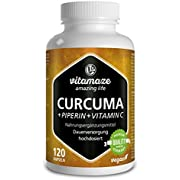 Vitamaze Turmeric capsules vegan with Black Pepper Extract (Piperine) curcumin plus high-dose of Vitamin C, 120 Vegan Capsules for 6 weeks, quality product without magnesium stearate