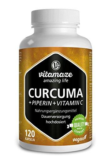 Vitamaze Curcuma + Curcumina Piperina ad alto dosaggio + Vitamina C in capsule, 120 capsule vegan, prodotto di qualità tedesca, confezione unica (1 x 105,6 g)