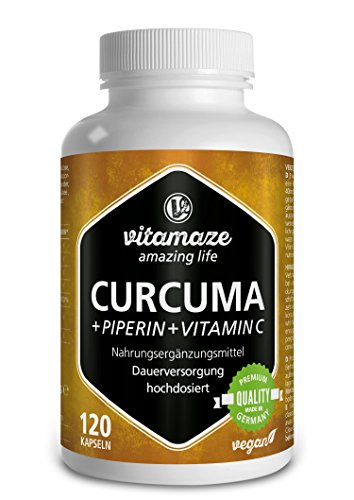 Vitamaze® Curcuma Gelules + Pipérine et Curcumine Fort Dosage + Vitamine C, 120 Capsules Vegan pour 40 Jours D'utilisation Continue, 95% Curcumin, Qualité Allemande, sans Additifs Inutiles