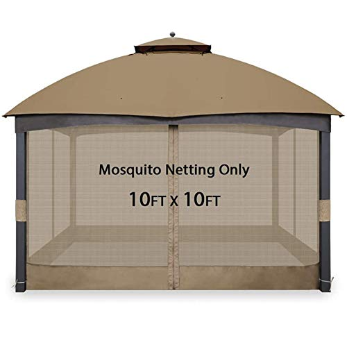 ZLRE Gazebo Mosquito Netting, Gazebo Universal Reemplazo Mosquitera Paredes de Pantalla Ajustables para 10'x10 'o 10'x12' Gazebo Canopy,10ft*10ft