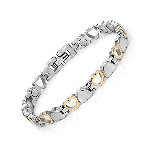 Jeracol Magnetic Bracelets for Women Magnetic Therapy Bracelet Pain Relief Arthritis Bracelet for Women Love Heart Design Titanium Steel Magnetic Bracelet Health Gifts with Removal Tool&Gift Box