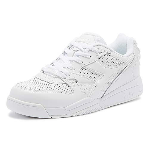 Diadora Men's Rebound Ace Leather Trainers, White, 10.5 US