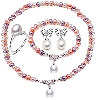 Natural pearl jewelry set for women real 925 silver