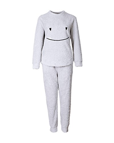 Mujer Conjunto de Pijama Manga Larga Pijamas Camisones de Mangas y Pantalones Largos Gris XL
